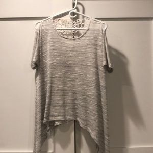 Lace back white and gray dressy t-shirt